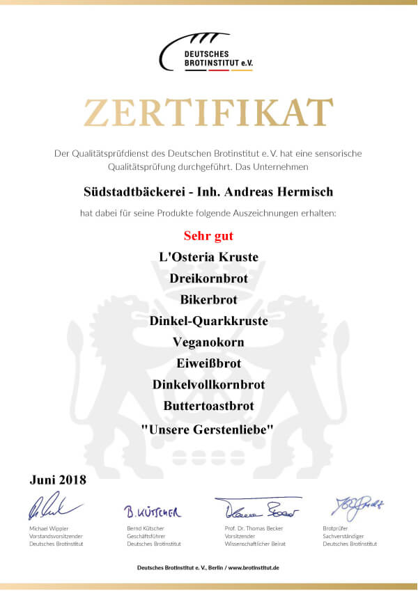 Zertifikat Brotprüfung Paderborn